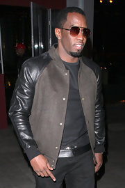 Sean Combs went out to dinner in Hollywood looking snazzy in a two-tone leather-sleeve jacket.