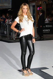 To balance out her ferocious leather pants, Lauren kept her top half simple in a plain white tee.