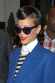 Electric blue shades illuminated Rihanna's menswear-inspired style.