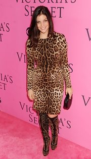 Julia Restoin-Roitfeld worked the Victoria's Secret pink carpet in killer black and gold studded boots.