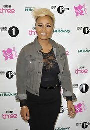 Attending the BBC Radio Hackney Weekend Festival in London, Emeli Sande gave her black lace look a casual spin by throwing on a cropped gray denim jacket.