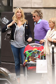 Penny Lancaster was spotted in jeans, a tankm and tweed jacket ensemble roaming around Paris with husband Rod Stewart.