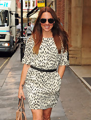 Mel C achieved effortless sophistication with this black-and-white print dress.