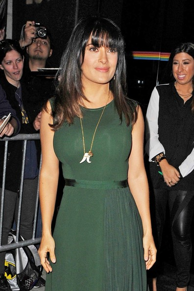 More Pics of Salma Hayek Gold Pendant (1 of 8) - Gold Pendant Lookbook - StyleBistro