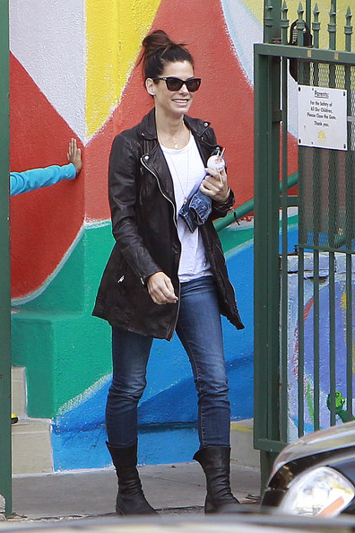 Sandra Bullock Leather Coat