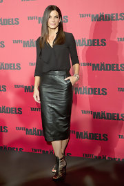 Sandra opted for a cool black leather pencil skirt to pair with her black blouse at the 'Taffe Maedels' photo call in Berlin.