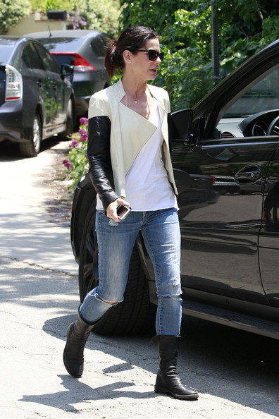 More Pics of Sandra Bullock Leather Jacket (1 of 20) - Leather Jacket Lookbook - StyleBistro