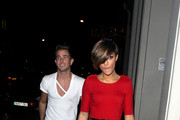 The Saturdays singer Frankie Sandford arrives at a London hotel holding the hand of an unidentified male.