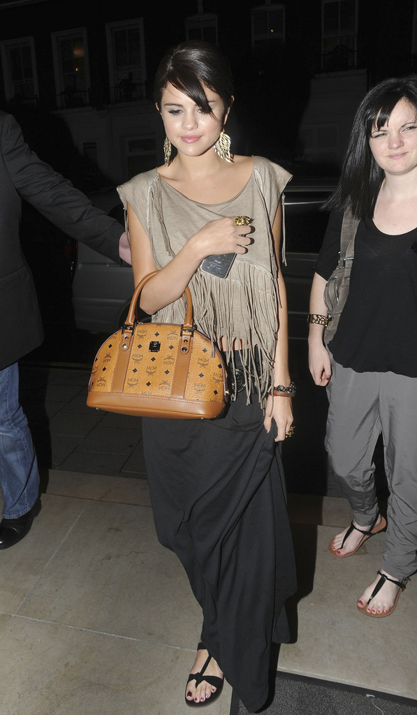 Selena Gomez Leather Bowler Bag Selena Gomez Looks