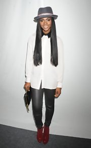 Tika Sumpter kept it simple with a white button-down shirt during Mercedes-Benz Fashion Week.