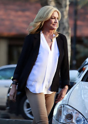Shannon Tweed wore a sheer white top with a center fold detail while out in LA.