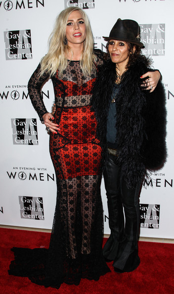 Linda Perry rocked a pair of flare leather pants at the Evening with Women gala.