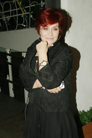 Sharon Osbourne was seen dining out wearing an all-black ensemble featuring a quilted zip-up jacket.