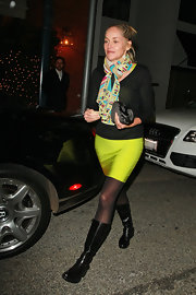 Sharon stone rocks this mod print scarf with a bright geometric colorful print.