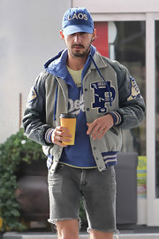 Shia LaBeouf was easy-breezy in frayed jean shorts and layers of tops while getting coffee.