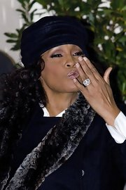Whitney Houston wore a blue winter hat while out at Foundation Studios.