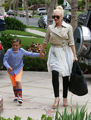 Gwen Stefani opted for a more feminine sheer white skirt for her Easter Sunday best.