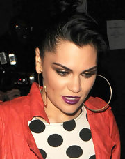 Jessie J. went out for an evening in London wearing an intense shade of purple lipstick.