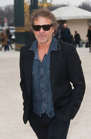 Renzo Rosso's blue denim shirt and black blazer were a clever combination.