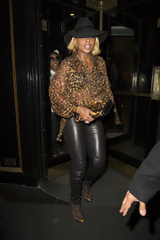 Mary J. Blige rocked a leopard-print flowing blouse while out in London.