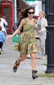 Myleene Klass stepped out in a printed day dress while out in London.