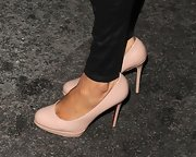 Alesha Dixon stepped out in London wearing a pair of classic nude platform pumps.