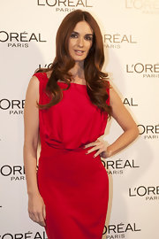 Paz Vega wore a classic red nail polish to complement red hot dress during fashion week in Madrid.