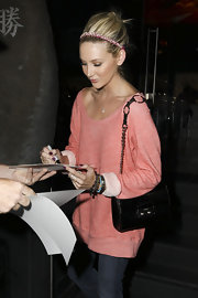 Stephanie Pratt showed off her classic patent leather shoulder bag while leaving Katsuya restaurant.