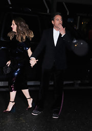 Susan Downey completed her fab ensemble with a pair of pumps featuring embellished wedge heels.
