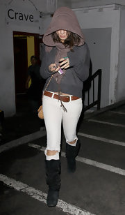 Vanessa Hudgens wore white jeans with ripped knees to Trousdale.