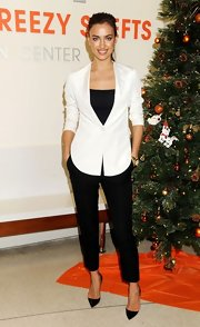 Irina was black and white and chic all over—especially in those well-tailored slacks!