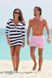 Tamara Ecclestone had fun in the sun while sporting this navy and white striped dress.