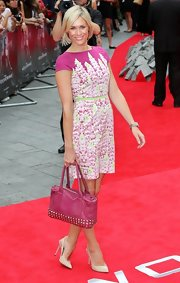 Jenni Falconer stuck to bold florals for the red carpet premiere of 'The Wolverine.'