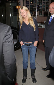 Tara Reid partied in West Hollywood in a pair of skinny jeans and flat motorcycle boots.