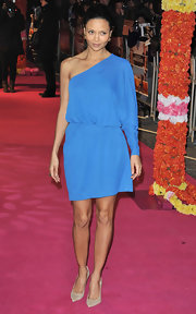 Thandie topped off her blue frock with classic nude stilettos.