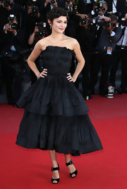 Audrey Tautou's black pleated tiered strapless dress was totally chic and elegant on the red carpet in Cannes.