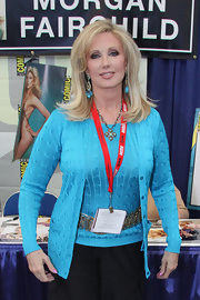 Morgan Fairchild exuded casual elegance in her aqua twinset at Comic Con.