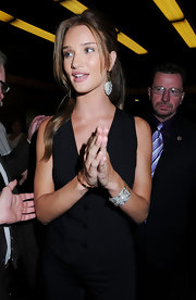 Rosie Huntington-Whiteley wore a pair of diamond encrusted chandelier earrings during an appearance on 'Late Night With Jimmy Fallon.'