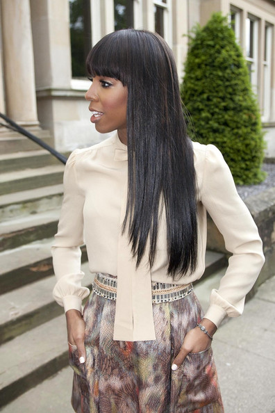 More Pics of Kelly Rowland Long Straight Cut with Bangs (4 of 11) - Kelly Rowland Lookbook - StyleBistro []