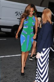 Tyra was spotted in this colorful neon dress en route to the 'Late Show With Jimmy Fallon' in NYC.