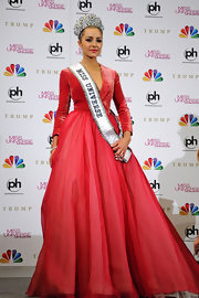 Olivia Culpo was crowned Miss Universe in this coral velvet creation with a full tulle skirt.