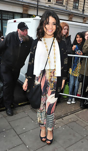 Vanessa wore colorful abstract print harem pants for her arrival at Radio One studios.