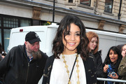 Vanessa Hudgens arriving at Radio One studios in London in good spirits to promote her new film