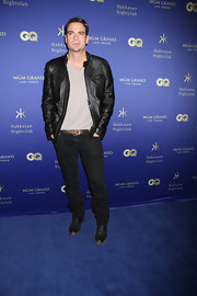 Mark Salling chose a black leather jacket for his cool and casual look while at the Hakkasan opening in Las Vegas.