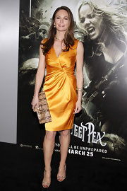 Diane Lane paired her marigold satin dress with delicate snakeskin Erin sandals.