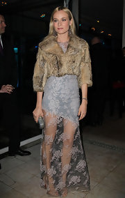 Diane Kruger glamorized her ethereal lace dress with a cropped fur coat.