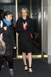 Vera Farmiga left NBC Studios in NYC sporting this classic trenchcoat in black.
