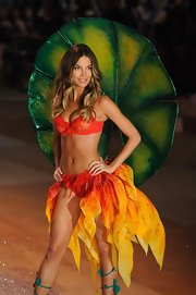 Lily Aldridge set the Victoria's Secret runway on fire in this fairy-inspired orange and yellow lingerie.