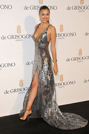 Irina loves sleek and simple evening sandals like this gold pair she wore in Cannes.
