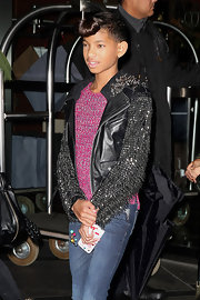 Willow Smith rocked a black leather jacket with fierce spiked sleeves in NYC.